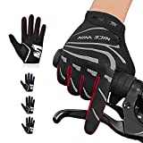 NICEWIN Cycling Gloves Motorcycle Bike Mountain- Road Bicycle Men Women Padded Antiskid Touch Screen (C Red, Large)