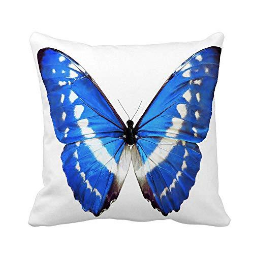 N\A Throw Pillow Cover Animal Blue Morpho Helena Butterfly White Shiny Wings Antena Funda de Almohada Funda de Almohada Cuadrada Decorativa para el hogar Funda de cojín