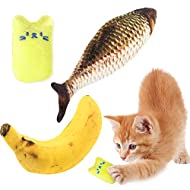 Whaline Catnip Cat Toys, Banana Kitten Pillow Fish Plush Toy Interactive Teeth Cleaning Teeth Grindi...