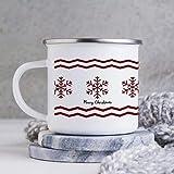 Line Red Merry Christmas Snowflake Mugs 10 oz, Enamel Camping Campfire Tin Mugs, Enamel Coffee Tea Cups Mugs, Camping Mental Mugs For Dad Mom Friends Christmas Quarantine Winter Gifts