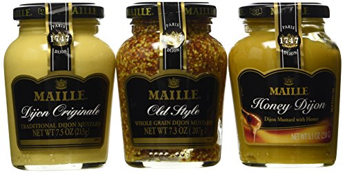 Maille Dijon Mustards 3-Flavor Variety: One 7.5 oz Jar of Dijon Originale, One 8.1 oz Jar of Honey Dijon, and One 7.3 oz Jar of Old Style Whole Grain Dijon in a Gift Box