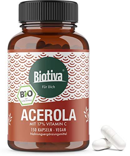 Acérola Vitamine C bio - 150 capsules - Végétales, naturelles et fortement dosées - Végan - Conditionné en Allemagne (DE-ÖKO-005)