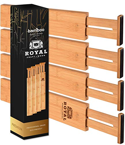 Adjustable Bamboo Drawer Dividers Organizers - Expandable Drawer Organization Separators For Kitchen, Dresser, Bedroom, Bathroom and Office, 4-Pack, 13.25-17 IN