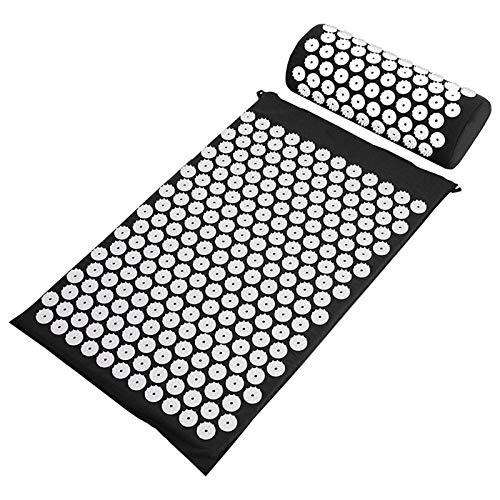 Beautymei Yoga Mat Acupuncture Mat Set Massager Cushion Acupressure Mat Acupoint Massage Cushion with Pillow Can Relieve Back Neck Pain for Men And Women(Black)