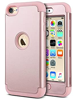 ULAK iPod Touch 7th Generation Case iPod Touch 6 Case Heavy Duty Shockproof High Impact Protective Case with Dual Layer Soft Silicone + Hard PC for Apple iPod Touch 7/6/5 Rose Gold
