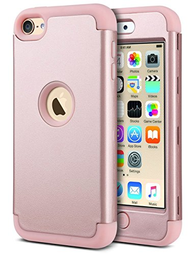 ULAK iPod Touch 7th Generation Case iPod Touch 6 Case Heavy Duty Shockproof High Impact Protective Case with Dual Layer Soft Silicone  Hard PC for Apple iPod Touch 7/6/5 Rose Gold