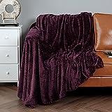 Mantas para Sofás de Franela 220X240CM con Diseño Granulado Ondas - Mantas para Cama de 135-150cm 100% Poliéster Suave y Cómodo-Violeta