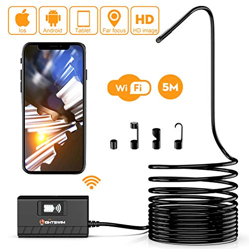 Lightswim Endoscopio Wireless, 5,5 mm 1080P HD Zoomable WiFi Borescope Camera di ispezione con 6 luci a LED e Tubo a Serpente semirigido Impermeabile IP68 per Tablet Smartphone Android e iOS 5M