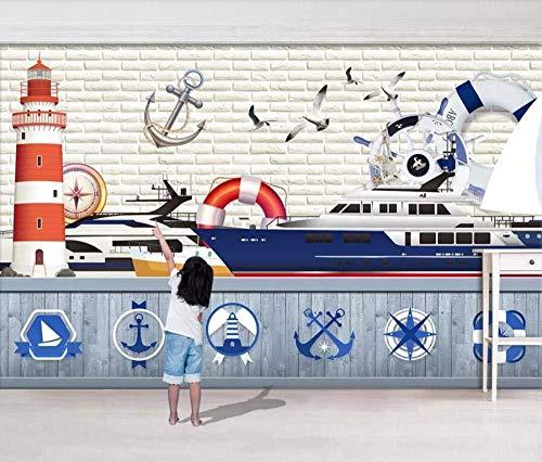 Fototapete-Vlies Tapete 3D Mittelmeer Segeln Leuchtturm Rettungsring Kreuzfahrtschiff Moderne Wohnzimmer Schlafzimmer Großes Wandbild Wanddekoration-430cmx300cm Wandsticker/Poster/HD Print/Vlies