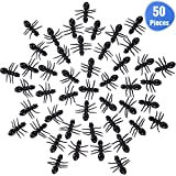 Jovitec 50 Pieces Big Fake Ants Plastic Simulated Insect Prank Toy Ant Toy Decoration Props for Halloween Party