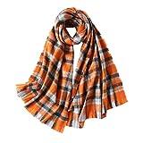 Unisex Cashmere Feel Plaid Long Scarf Winter Large Wraps Warm Tartan Oversized Blanket Women Men British Style Knit Shawl (orange)