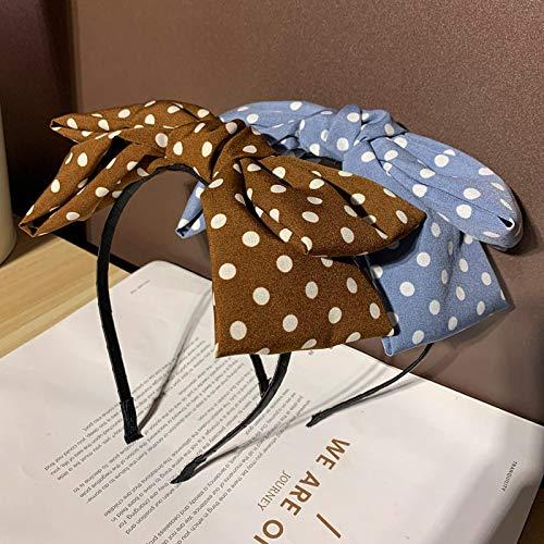 Cerceau à cheveux Japon Et Corée Du Sud Populaire Polka Dot Grand Arc Forme Lavage Visage Bande De Cheveux Polka Dot Complet Coiffe Ronde Simple Frais Bandeau