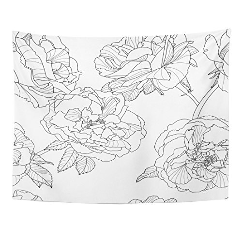 Emvency Tapestry Grey Line Floral Black White Outline Rose Flowers Design Linear Home Decor Wall Hanging Living Room Bedroom Dorm 60x80 inches
