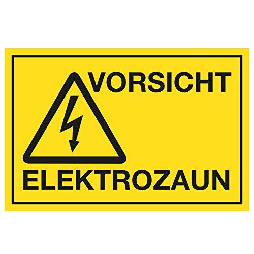 WANDKINGS Hinweisschild - Vorsicht Elektrozaun - stabile Aluminium Verbundplatte - Wähle eine Größe - 20x15 cm