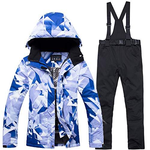 GTTBS-ski Tuta da Sci Unisex Set da Sci Indumento da Sci Snowsuit Allaperto Giacca da Sci Antivento con Cappuccio Maschi+Pantaloni Giacca Set Sport Invernali Vestiti Addensati