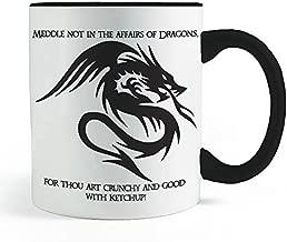 Dragon, Thou art crunchy and good with Ketchup! - Black Handled Coffee and Tea Mug