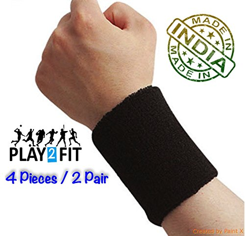 Play2Fit 4 Wristband (2 Pair) Soft Sweatband for All Sport, Stretchable, Sweat Absorbent Supports Wrist Made in India (Black, 3 Inch)
