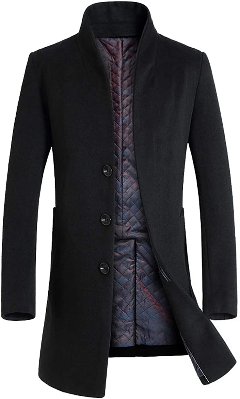Zoulee New Men's Wool Blend Long Pea Coat Business Down Jacket Trench Topcoat