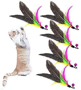 CathEU Jouet pour chat - Plume naturelle - Jouet interactif intelligent - Cloche pour chat - Jouet de rechange - Jouet pour chat - Produit de qualité (couleur)