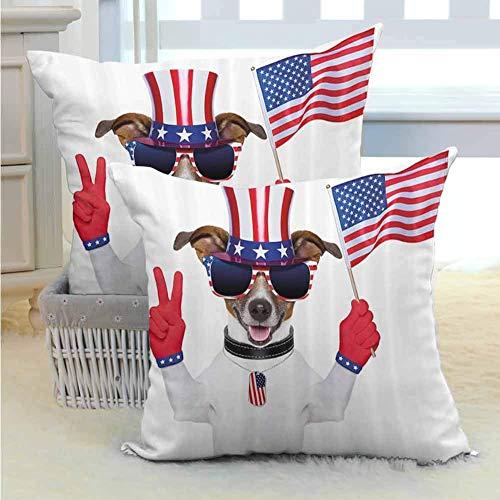 4 de Julio Funda de Almohada para Parejas Divertido Perro con un Sombrero del tío Sam con un Signo de la Paz y una Bandera Estadounidense con Cremallera Oculta Multicolor