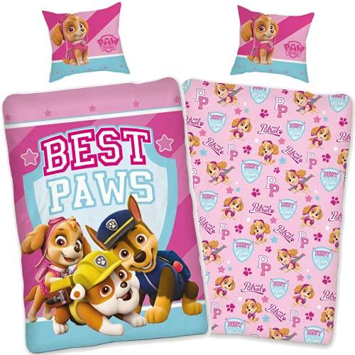 SkyBrands Paw Patrol Bettwäsche 135x200 80x80 Kissen-bezug [Wendemotiv] 100% Baumwolle | Kinder-Bettwäsche Mädchen Rosa Pink Deutsche Größe mit ÖKO-TEX Siegel