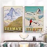 Refosian Zermatt Schweiz Matterhorn Print Ski Poster