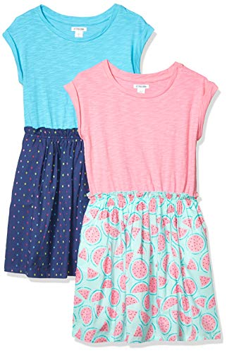 Spotted Zebra Girls' Kids Knit-to-Woven Short-Sleeve Dresses, 2-Pack Watermelons/Navy Multi-Dots, X-Small