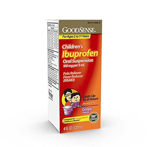 GoodSense Children'sIbuprofen Oral Suspension, 100 mg per 5 mL, Grape Flavor, Pain RelieverandFever Reducer, Temporarily Reduces Fever and Provides Temporary Relief of Minor Aches and Pains