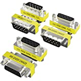 Warmstor 6-Pack 15 Pin VGA Male to Male/Female to Female/Male to Female Mini Gender Changer, HD15 VGA Cables Connector Adapter Coupler