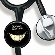We're All mad here Stethoscope Tag Personalized,Nurse Doctor Stethoscope ID Tag Customized, Medical Stethoscope Name Tag with Writable Surface-Black