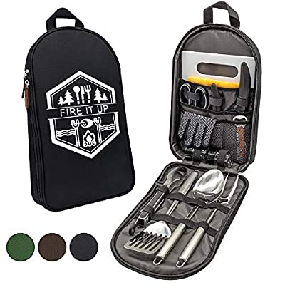 13 PC Grilling and Camping Cooking Utensils Set for The Outdoors BBQ - Stainless Steel Camp Kitchen Set Cookware Grill Tool Accessories Kit with Lightweight Stylish Crossbody Carrying Bag (Black)