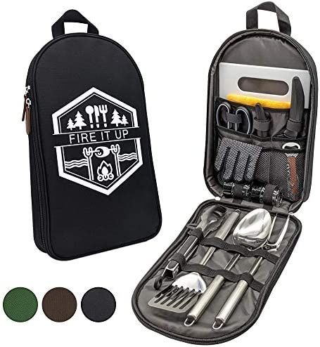 13 PC Grilling and Camping Cooking Utensils Set for The Outdoors BBQ Stainless Steel Camp Kitchen product image