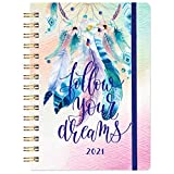 2021 Planner - Academic Weekly & Monthly Planner, 6.4' x 8.5', January 2021 - December 2021, Flexible Hardcover with Elastic Closure, Coated Tabs, Inner Pocket - Colorful Dreamcatcher