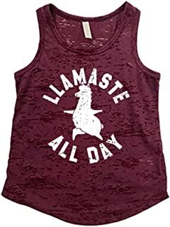 Tough Cookie's Kids' 2-13 Yrs Burnout Tank Top with Llamaste All Day Print