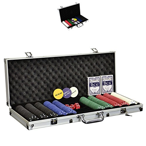 SONLEX Pokerkoffer mit 300 500 Pokerchips abschließbar Pokerkarten Zubehör Deluxe Pokerset Casino Aluminium Chipsanzahl wählbar (500 Chips)