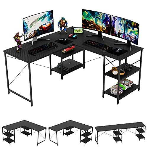 Bestier L Shaped Gaming Desk with Shelves 95.2 Inch Reversible Corner Computer Desk or 2 Person Long Table for Home Office Large Writing Storage Workstation P2 Board with 3 Cable Holes, Carbon Fiber