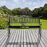 Relaxdays Gartenbank mit Klapptisch, 3-Sitzer, integrierte Tischablage, wetterfest, HxBxT 90 x 150 x 57,5 cm, schwarz - 4