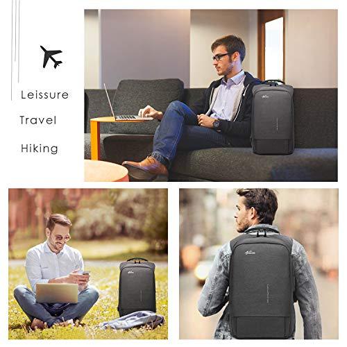 Fresion Anti-diebstahl Laptop Rucksack mit USB Ladeanschluss, Laptop Business Rucksäcke für Arbeit Reisen, Herren Rucksack diebstahlsicher Schul-Rucksack für 15,6 Zoll Notebook Computer Dunkelgrau
