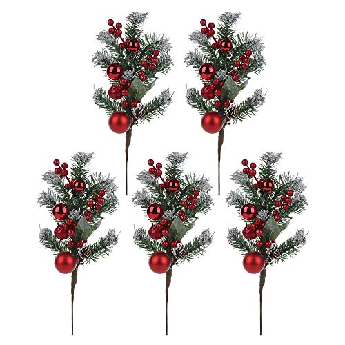 BELUPAI Artificial Red Berry, 19 Inch Pine Snowy Flower Picks Faux Berry Spray Flower Branch Home Holiday Wedding Party DIY Christmas Tree Crafts Decor, 5Pcs