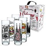 I LOVE KÖLN Kölschglas Mix, 6er Pack mit Geschenkkarton, Biergläser mit Druck à 0,2ml
