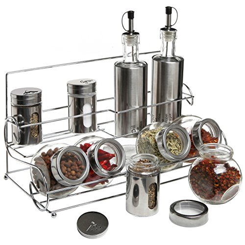 Stainless Steel Condiment Set with 2 Oil Cruets, 3 Spice Shakers, 5 Glass Canister Jars, and Chrome Rack