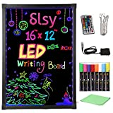 Slsy Illuminated LED Message Writing Board, 16'X12' Erasable Neon Effect Menu Sign Board with 8 Fluorescent Makers Remote Control,12Colors Flashing Modes Light Up Board