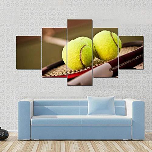 BDFDF Lienzo 5 Piezas Cuadro Lienzo No Tejido Raqueta De Tenis Y Pelotas De Tenis En La Cancha De Tenis 5 Carteles Pintura Mural Modernos Hogar Decoracion Artes 150X80Cm