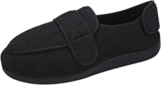 JINTN Chaussures Diabétique en Tissu Homme Chaussons Scratch Super Larges Chausson Orthopédique Femme Chaud Pantoufles Rég...