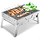 FHISD Barbecue Charcoal Grill Portable BBQ Grill, Mini BBQ Barbecue Grill Stainless Steel Folding Small Tabletop Smoker Grill for Camping Outdoor Grilling Hiking Picnics Cooking Party, for 2 People