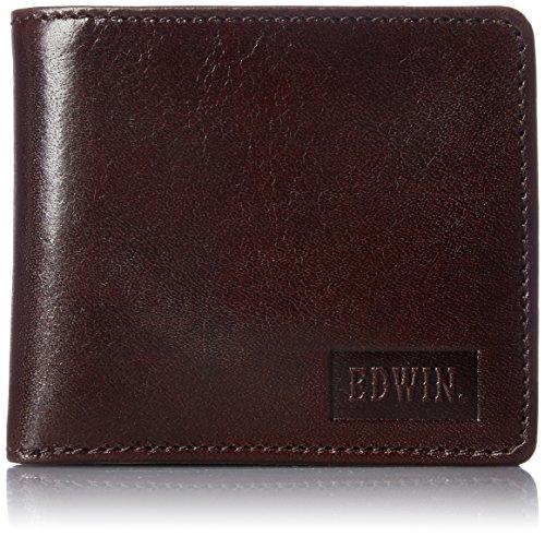 [エドウィン] 二つ折財布 イタリアンレザー エンボス 紙幣収納 小銭収納 カードポケット 22219021 71.ダークブラウン