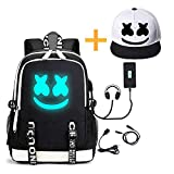 He-Bag Marshmallow Backpack Luminous DJ con Puerto de Carga USB, Unisex Fashion Travel Laptop Backpack (FM)