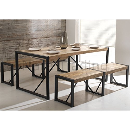 Harbour Indian Reclaimed Wood Furniture Large Dining Table With Two Large Benches