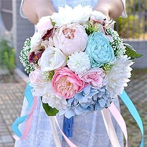 "Zebratown 10"" Peony Bridal Bridesmaid Bouquets Artificial Rose Silk Flowers Bouquet Home Wedding Decoration (Blue)"