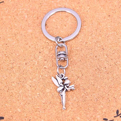 ZPZZPY charmante Neuheit Silber Farbe Metall Tinkerbell Schlüsselanhänger Zubehör & verchromte Schlüsselringe